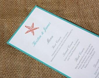 Teal and Coral Beach Wedding Menus - Set of 50