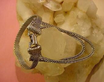 Vintage Bracelet Silver Tone Mesh & Chain Links Looks like 3 Bracelets When Wearing 1960s