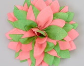 Green & Pink Flower Bow