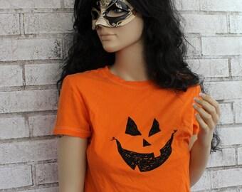 Jack O Lantern T Shirt, Orange Cotton Crewneck Ladies Tshirt,  Women's, Halloween, Pumpkin Face, Graphic Tee