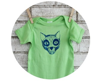 Cat Sugar Skull Baby Onepiece, Hand Printed Baby Bodysuit, Bright Lime Green, Hand Printed, Short Sleeved, Infant Clothing, Day of the Dead