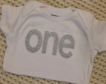"""Silver Glitter Iron-On vinyl """"one"""" lettering for yearly, monthly, or birthday onesie- Lettering ONLY"""