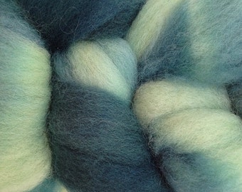 Wool Roving Hand Dyed in Beach Glass Mint Green Blue Teal