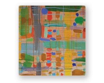 Geometric Plaid Design Acrylic Painting on Raw Canvas, Yellow, Green, Red, TanOriginal Painting, 16''x16''