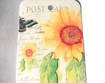 Sunflower Tags -  Set of 6  - Gift Tags - Thank yous - Flower Tags - Garden Tags -  Cottage Chic - Summer Flower Tags - Nature Tags