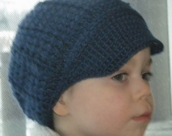 Crocheted Baby Newsboy Cap (Hat) Lapis Infant & Toddler Sizes