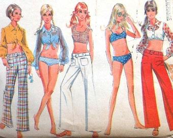 Retro Beach Wardrobe Sewing Pattern UNCUT McCalls 9704 Size 12 bikini pants top