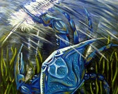 Blue Crab with a Feather (9x12 acrylic painting in St. Andrew Bay, Panama City, Florida)