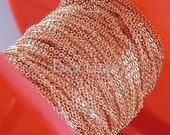 1 meter of beautiful shiny rose gold plated 1.7mm x 1.5mm flat cable chains, rose gold chain B007-BRG