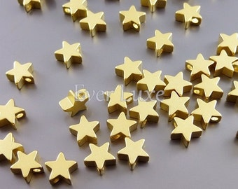 4 MATTE gold 6mm star beads, wholesale star metal beads, beading supplies, jewelry / jewellery 1788-MG-6 (matte gold, 6mm, 4 pieces)