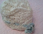 Vintage hand crocheted christening cap