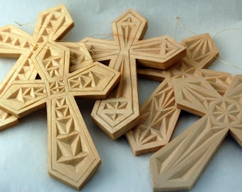Set of Four Assorted Hand Carved Cross Ornaments