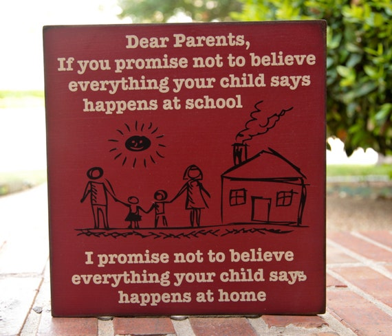 What Children Believe: Items Similar To 12x12 Teacher Gift. Dear Parents, If You