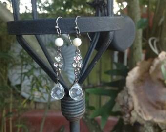 Upcycled Vintage Rhinestone Assemblage Crystal Drops Earrings,OOAK,Repurposed