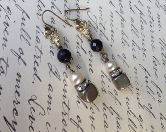 Vintage upcycled Rhinestone with Black Onyx and Pyrite Earrings,OOAK,repurposed,Dangly Earrings,Assemblage Earrings
