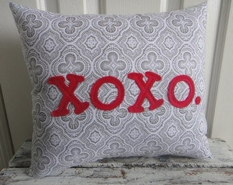 XOXO. Hugs and Kisses Modern Print Valentine Love Pillow