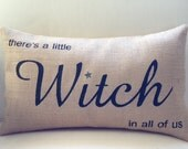 Halloween burlap pillow cover hessian cover - there's a little witch in all of us Practical Magic movie