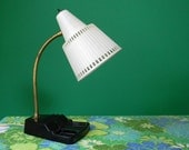 Vintage 1960s 1970s Black and White Gooseneck Desk Lamp