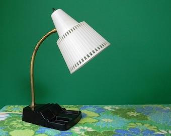 Vintage 1960s 1970s Black and White Gooseneck Desk Lamp