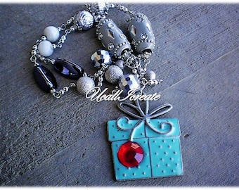 Christmas Package Necklace /Handmade by Me/Gifts for Her