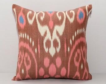 brown pillow, pink pillow, pink ikat, brown ikat, pink cushion, ikat pillow cover, 16x16, pink brown pillow