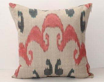 16x16, 15x15, pink black gray ikat cushion cover, pink pillow cover,