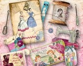 Vintage Sewing Digital Elements Collage Sheet Instant Download for Scrapbooking, ACEO, altered art