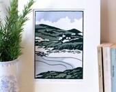 Hand Printed The Walk to Church Bay Linocut Print