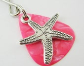 Guitar Pick Silver Starfish  Keychain Pink Pearloid Beach Ocean Christian Faith Helping Others