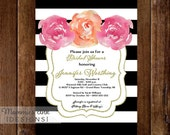 Black and White Stripes with Pink and Coral Watercolor Peonies - Bridal Shower Invitation - PRINTABLE INVITATION DESIGN