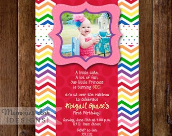 Chevron Rainbow and Polka Dots Photo Birthday Invite - PRINTABLE INVITATION DESIGN