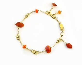 Mexican Fire Opal 18K gold bracelet, opal bracelet, solid gold bracelet, orange red bracelet