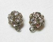 Set of 2 Rhinestone Ball shaped metal Buttons