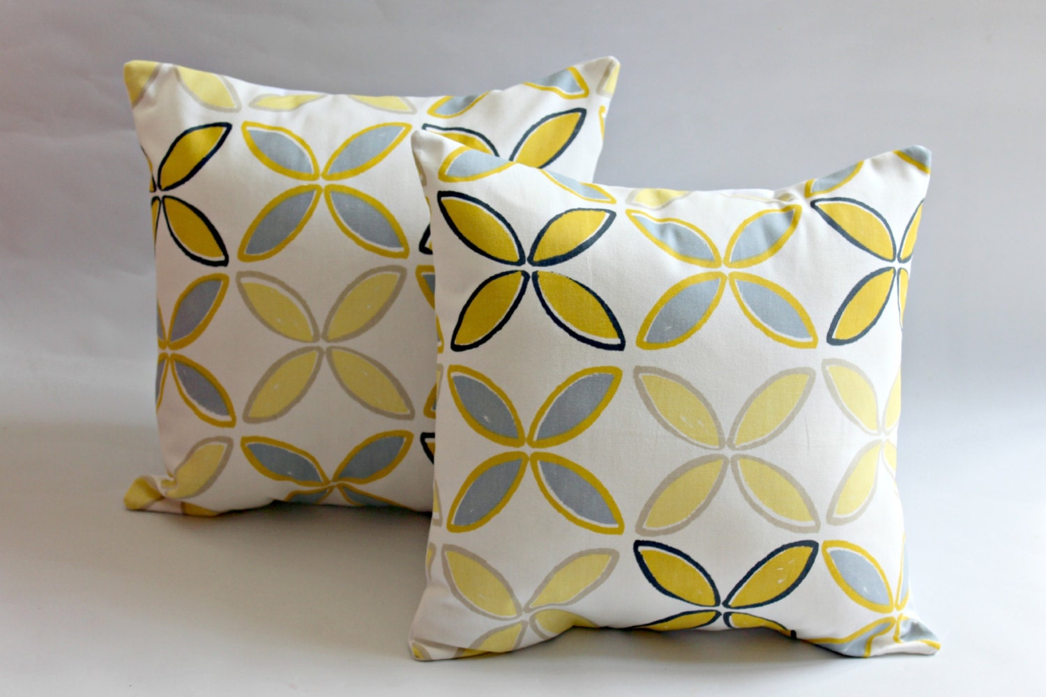 Decorative Pillows yellow mustard silver gray black by VeeDubz