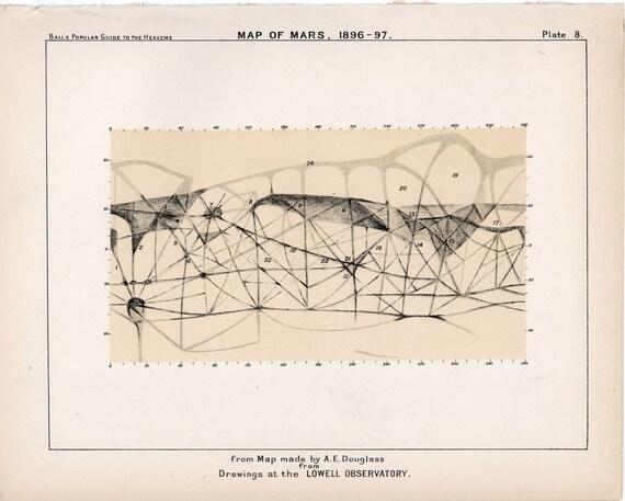 1910 mars planet map original antique celestial astronomy print