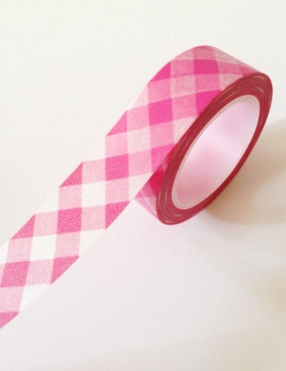 Washi Tape Pink Gingham Cross Hatch (Chugoku) Paper Tape