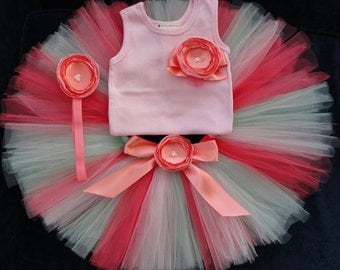 Baby Girls Birthday Tutu Dress Outfit  Coral Mint Pink Baby Girls 1st Birthday Dress Tutu