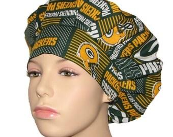 Bouffant Scrub Hat-Green Bay Packers Patchwork Print Fabric-ScrubHeads-Scrub Hats Women-Scrub Cap-Surgical scrub Hat-Packers Scrub Hat