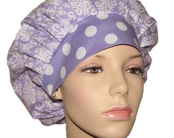 Scrub Hats-Damask Lavender And White-Bouffant Scrub Hat-Damask Scrub Hat-ScrubHeads-Scrub Hats For Women-Scrub Caps-Anesthesia Scrub Hats