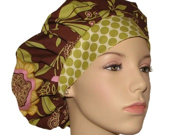 Scrub Hats - Amy Butler Lotus Lacework Olive