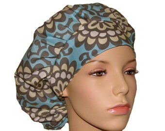 Amy Butler Sky Blue Wallflower-Scrub Hats For Women-Bouffant Scrub Hat-Scrub Cap-Surgical Scrub Cap-ScrubHeads-Anesthesia Scrub Hat