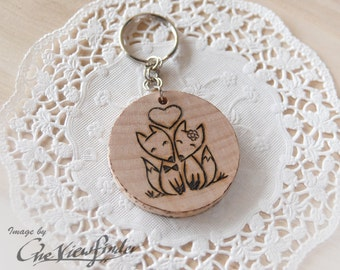 Wooden Charms, wine charm,  LITTLE FOX, keychain