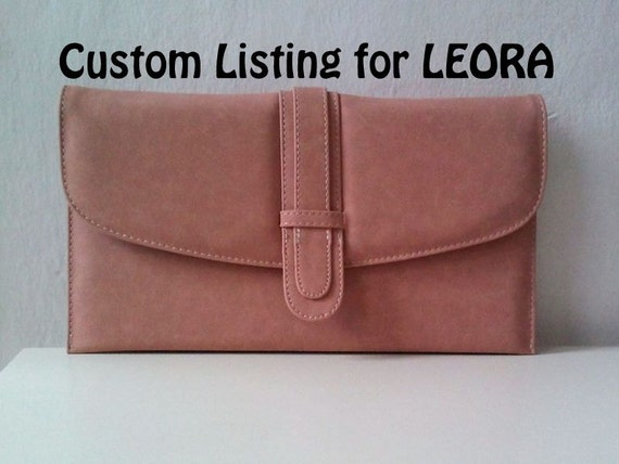 CUSTOM Listing for LEORA - Handpainted Monarch Butterfly Clutch, pastel dusty rose