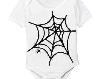 Spider Web Halloween Organic Baby Bodysuit