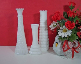 BUY 1, 2, OR 3 SETS of 3 Milk Glass Bud Vases. E.O. Brody Waffle, Eiffel Tower, Circles. Vintage Wedding Collection. 4554
