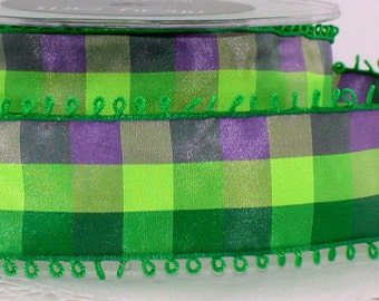 """Wired Ribbon, Purple/Green/Lime Green Plaid Ribbon, 1.5"""" wide by the yard, Gift Wrapping, Home Decor, Sewing, Crafts, Wreaths,"""