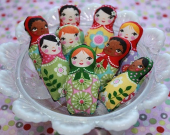 Set of Three Tiny Miniature Matryoshka Russian Stacking Doll plush party favor or accessory