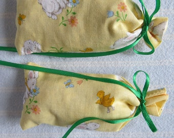Easter Yellow Sachet-'Spring Blossom' Fragrance-Rabbits/Chicks Easter Sachets-Cotton Fabric Holiday Herbal Sachet-Cindy's Loft