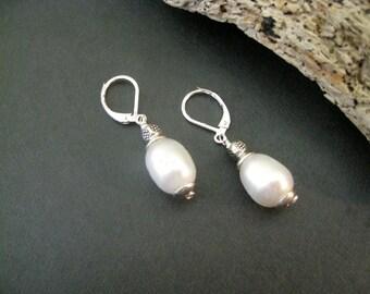 Pearl Earrings, Pearl Silver Leverback Earrings, Sundance Style Earring, Sundance Inspired Jewelry