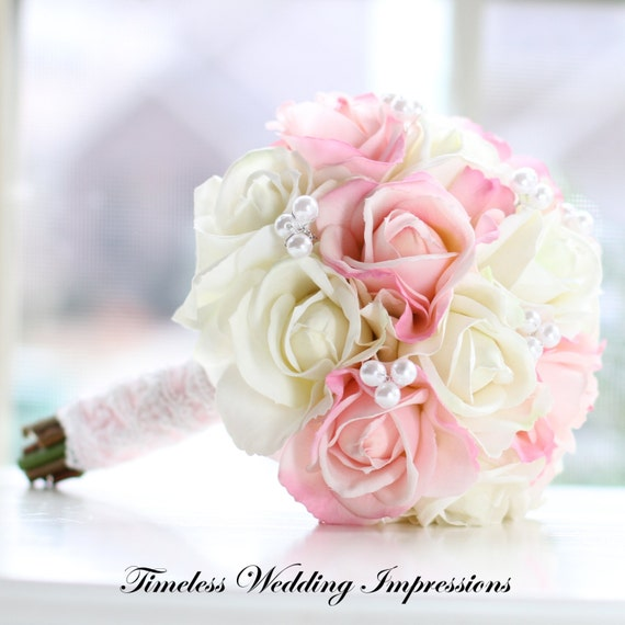 Bouquet Pink Roses Bridal Spring Wedding Pearls Lace Real Touch Silk Flowers Spring